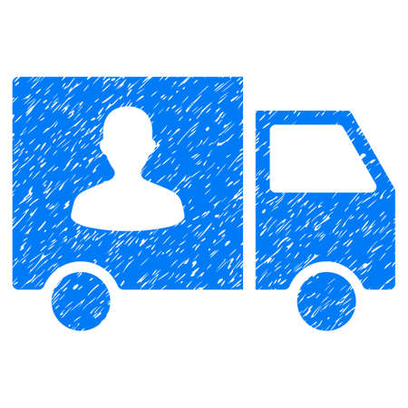 Passenger Transport Van grainy textured icon for overlay watermark stamps. Flat symbol with scratched texture. Dotted glyph blue ink rubber seal stamp with grunge design on a white background.