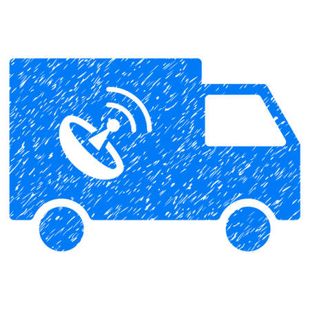 Remote Control Van grainy textured icon for overlay watermark stamps. Flat symbol with dust texture. Dotted glyph blue ink rubber seal stamp with grunge design on a white background.