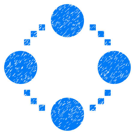 Circular Relations grainy textured icon for overlay watermark stamps. Flat symbol with unclean texture. Dotted glyph blue ink rubber seal stamp with grunge design. Designed with square dots.