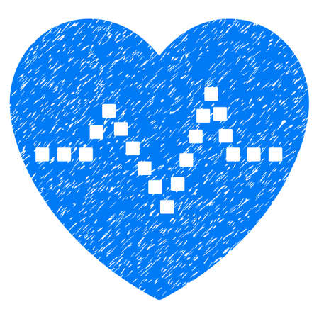 Heart Pulse grainy textured icon for overlay watermark stamps. Flat symbol with scratched texture. Dotted glyph blue ink rubber seal stamp with grunge design. Designed with square dots.