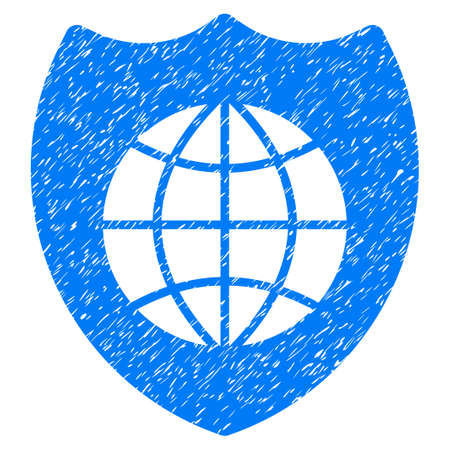 Global Shield grainy textured icon for overlay watermark stamps. Flat symbol with unclean texture. Dotted glyph blue ink rubber seal stamp with grunge design on a white background.