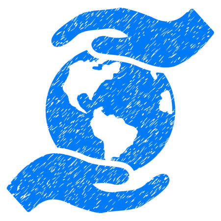 International Care grainy textured icon for overlay watermark stamps. Flat symbol with unclean texture. Dotted glyph blue ink rubber seal stamp with grunge design on a white background.