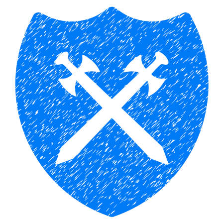 Security Shield grainy textured icon for overlay watermark stamps. Flat symbol with dust texture. Dotted glyph blue ink rubber seal stamp with grunge design on a white background.