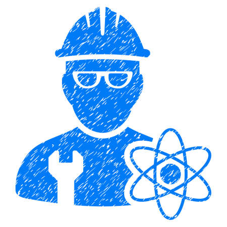 Industrial Scientist grainy textured icon for overlay watermark stamps. Flat symbol with unclean texture. Dotted vector blue ink rubber seal stamp with grunge design on a white background.
