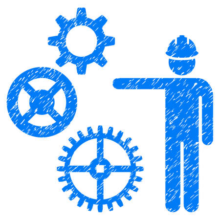 Gears Mechanics Presentation grainy textured icon for overlay watermark stamps. Flat symbol with unclean texture. Dotted vector blue ink rubber seal stamp with grunge design on a white background.