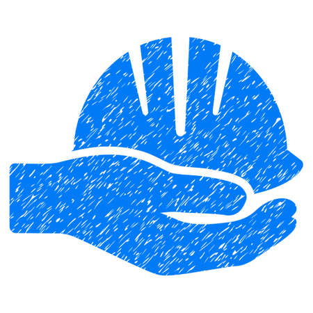Hand With Helmet grainy textured icon for overlay watermark stamps. Flat symbol with scratched texture. Dotted vector blue ink rubber seal stamp with grunge design on a white background. Illustration