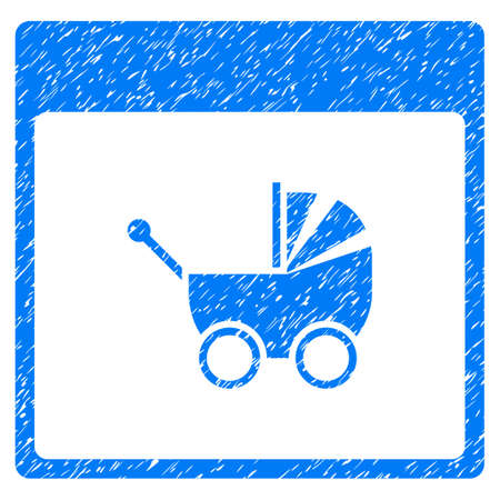 Baby Carriage Calendar Page grainy textured icon for overlay watermark stamps. Flat symbol with scratched texture. Dotted glyph blue ink rubber seal stamp with grunge design on a white background. Stock Photo