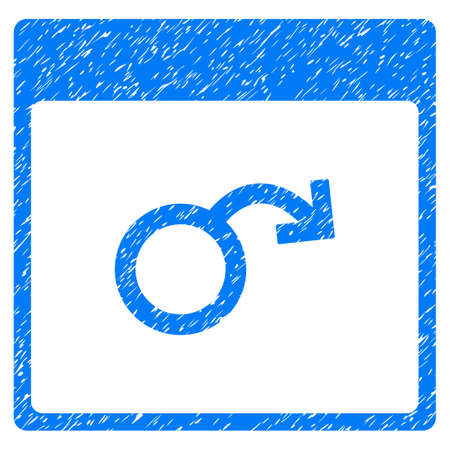 testicles: Impotence Calendar Page grainy textured icon for overlay watermark stamps. Flat symbol with unclean texture. Dotted glyph blue ink rubber seal stamp with grunge design on a white background.