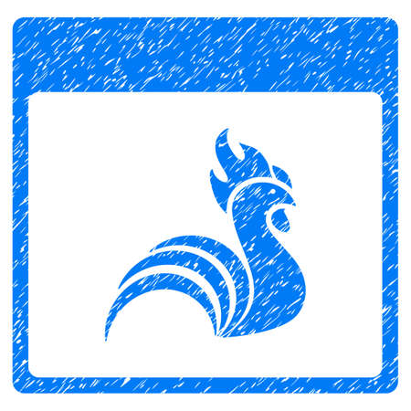 Rooster Calendar Page grainy textured icon for overlay watermark stamps. Flat symbol with dust texture. Dotted glyph blue ink rubber seal stamp with grunge design on a white background. Stock Photo
