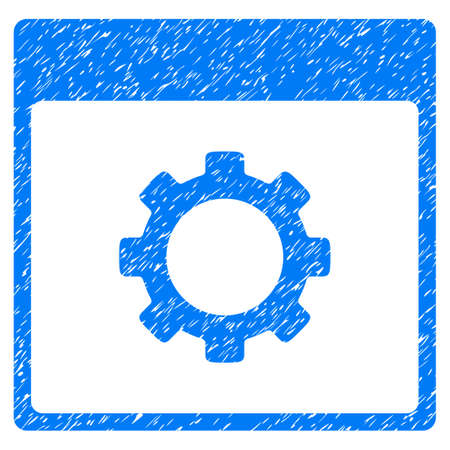 configuration: Gear Options Calendar Page grainy textured icon for overlay watermark stamps. Flat symbol with scratched texture. Dotted glyph blue ink rubber seal stamp with grunge design on a white background.
