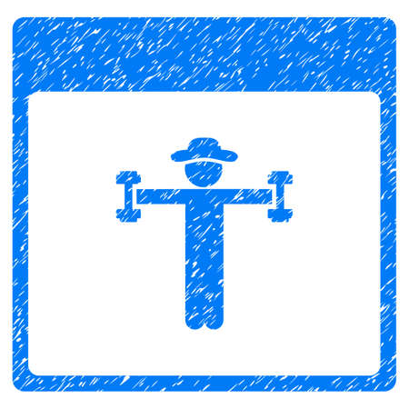 Gentleman Fitness Calendar Page grainy textured icon for overlay watermark stamps. Flat symbol with unclean texture. Dotted glyph blue ink rubber seal stamp with grunge design on a white background.