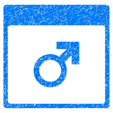male symbol: Mars Male Symbol Calendar Page grainy textured icon for overlay watermark stamps. Flat symbol with dirty texture. Dotted glyph blue ink rubber seal stamp with grunge design on a white background. Stock Photo