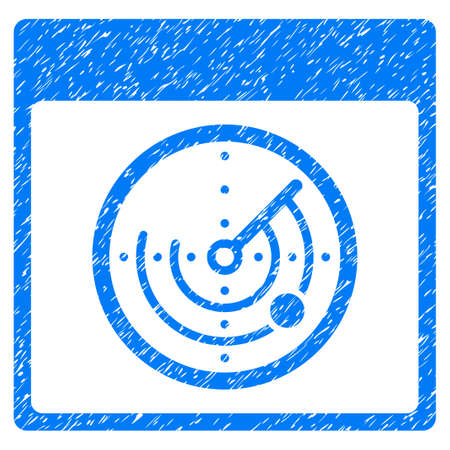 Radar Calendar Page grainy textured icon for overlay watermark stamps. Flat symbol with scratched texture. Dotted glyph blue ink rubber seal stamp with grunge design on a white background.