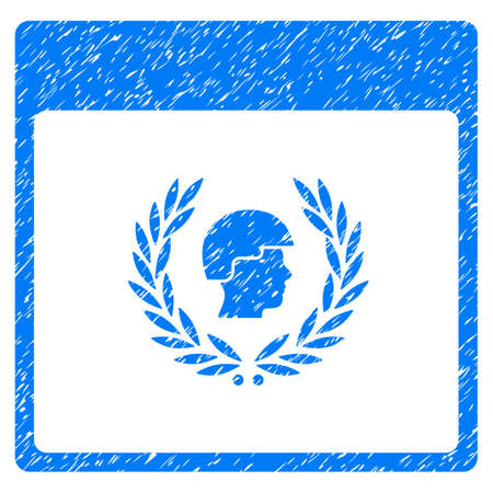 Soldier Laurel Wreath Calendar Page grainy textured icon for overlay watermark stamps. Flat symbol with dirty texture. Dotted glyph blue ink rubber seal stamp with grunge design on a white background.