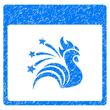 Sparkle Rooster Calendar Page grainy textured icon for overlay watermark stamps. Flat symbol with dust texture. Dotted glyph blue ink rubber seal stamp with grunge design on a white background.
