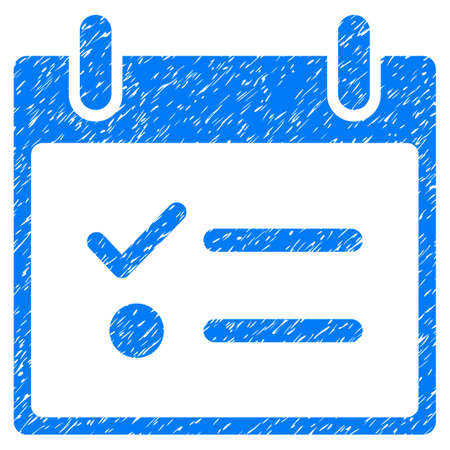 Todo List Calendar Day grainy textured icon for overlay watermark stamps. Flat symbol with dust texture. Dotted glyph blue ink rubber seal stamp with grunge design on a white background. Stock Photo