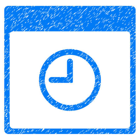 Time Calendar Page grainy textured icon for overlay watermark stamps. Flat symbol with unclean texture. Dotted glyph blue ink rubber seal stamp with grunge design on a white background.
