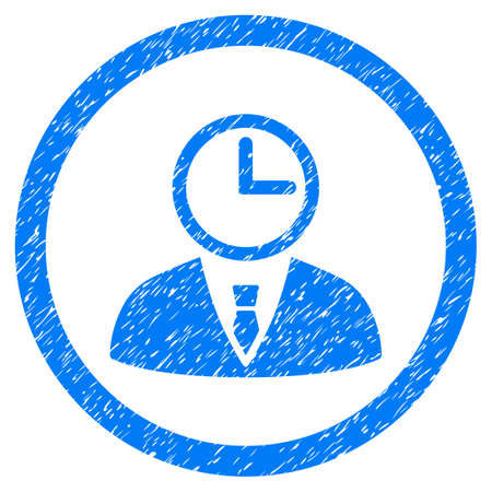 Rounded Time Manager rubber seal stamp watermark. Icon symbol inside circle with grunge design and unclean texture. Unclean glyph blue emblem.