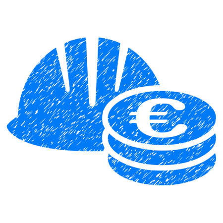 Helmet And Euro Coins grainy textured icon for overlay watermark stamps. Flat symbol with dust texture. Dotted raster blue ink rubber seal stamp with grunge design on a white background. Stock Photo