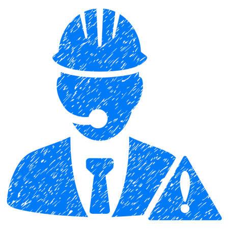 administrador de empresas: Industrial Operador de Emergencia icono de textura granulosa de sellos de agua de superposición. símbolo plana con textura sucia. trama de puntos sello de junta de goma de tinta azul con el diseño del grunge sobre un fondo blanco.