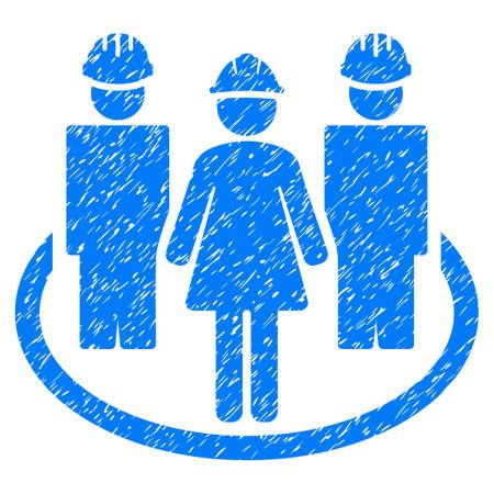 relaciones laborales: Trabajador de relaciones sociales icono de textura granulada para sellos de marca de agua de superposición. Símbolo plano con textura sucia. Dotted raster sello de sello de goma de tinta azul con diseño de grunge sobre un fondo blanco. Foto de archivo