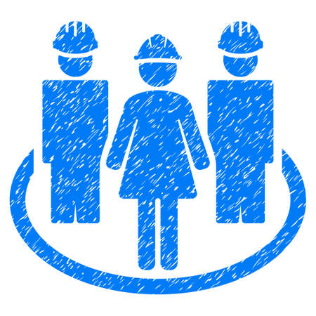 Worker Social Relations grainy textured icon for overlay watermark stamps. Flat symbol with dirty texture. Dotted raster blue ink rubber seal stamp with grunge design on a white background.