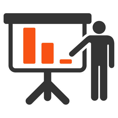 presentaion: Crisis Reporting Person vector pictogram. Style is flat graphic symbol.