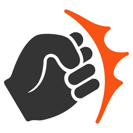 Fist Strike vector pictogram. Style is flat graphic symbol.