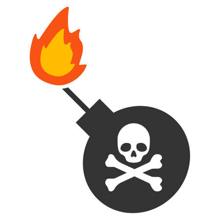 Mortal Bomb vector pictograph. Style is flat graphic symbol. Illustration