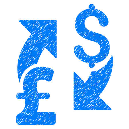 sync: Dollar Pound Exchange grainy textured icon for overlay watermark stamps. Flat symbol with scratched texture. Dotted raster blue ink rubber seal stamp with grunge design on a white background.