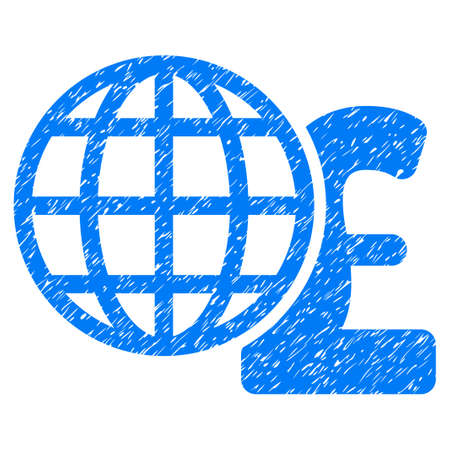 Global Pound Finances grainy textured icon for overlay watermark stamps. Flat symbol with dust texture. Dotted raster blue ink rubber seal stamp with grunge design on a white background.