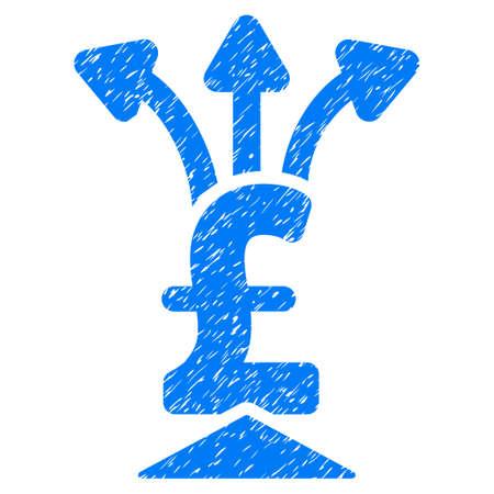 libra esterlina: Libra agregador icono de textura granulosa de sellos de agua de superposición. símbolo plana con textura de polvo. trama de puntos sello de junta de goma de tinta azul con el diseño del grunge sobre un fondo blanco. Foto de archivo