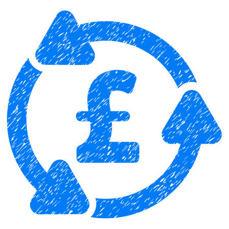 Pound Circulation grainy textured icon for overlay watermark stamps. Flat symbol with dirty texture. Dotted raster blue ink rubber seal stamp with grunge design on a white background.