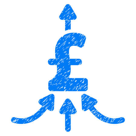 takings: Pound Financial Aggregator grainy textured icon for overlay watermark stamps. Flat symbol with dust texture. Dotted raster blue ink rubber seal stamp with grunge design on a white background.