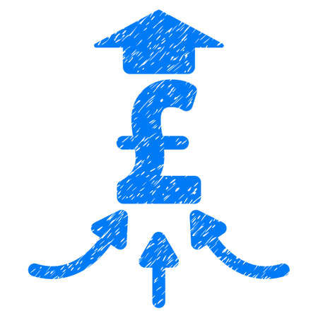 Pound Financial Aggregator grainy textured icon for overlay watermark stamps. Flat symbol with dust texture. Dotted raster blue ink rubber seal stamp with grunge design on a white background.