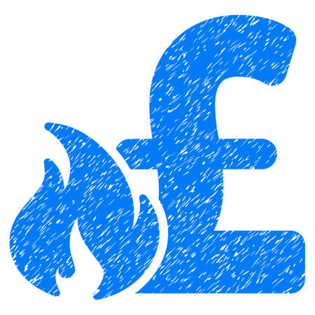 explosion hazard: Pound Financial Fire grainy textured icon for overlay watermark stamps. Flat symbol with dirty texture. Dotted raster blue ink rubber seal stamp with grunge design on a white background. Stock Photo
