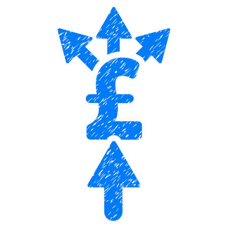 Share Pound Payment grainy textured icon for overlay watermark stamps. Flat symbol with dirty texture. Dotted raster blue ink rubber seal stamp with grunge design on a white background.