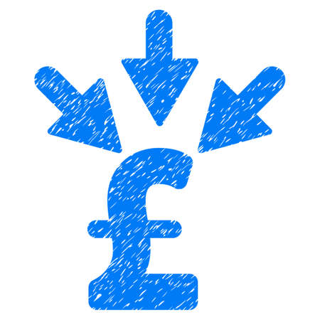 Aggregate Pound Payment grainy textured icon for overlay watermark stamps. Flat symbol with unclean texture. Dotted vector blue ink rubber seal stamp with grunge design on a white background.