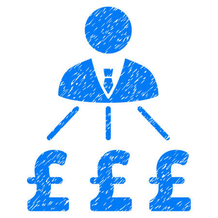 group  accountant: Businessman Pound Expenses grainy textured icon for overlay watermark stamps. Flat symbol with scratched texture. Dotted vector blue ink rubber seal stamp with grunge design on a white background. Illustration