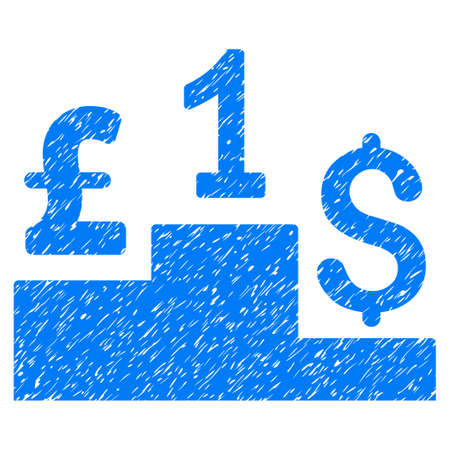 Dollar Pound Competition grainy textured icon for overlay watermark stamps. Flat symbol with unclean texture. Dotted vector blue ink rubber seal stamp with grunge design on a white background. Illustration