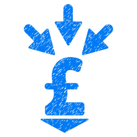 Integrate Pound Payment grainy textured icon for overlay watermark stamps. Flat symbol with dirty texture. Dotted vector blue ink rubber seal stamp with grunge design on a white background.