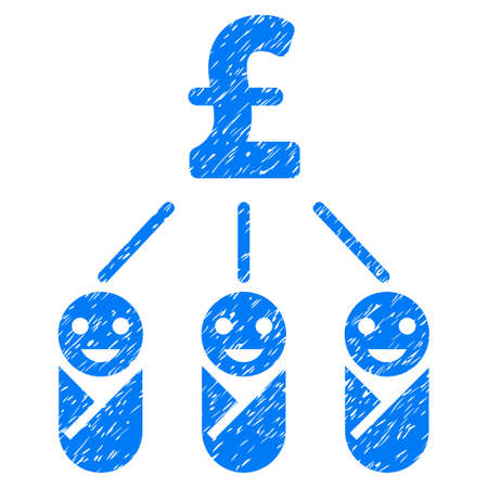 Kid Pound Expenses grainy textured icon for overlay watermark stamps. Flat symbol with dirty texture. Dotted vector blue ink rubber seal stamp with grunge design on a white background.