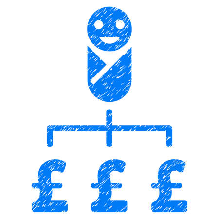 Kid Pound Expenses grainy textured icon for overlay watermark stamps. Flat symbol with dust texture. Dotted vector blue ink rubber seal stamp with grunge design on a white background.