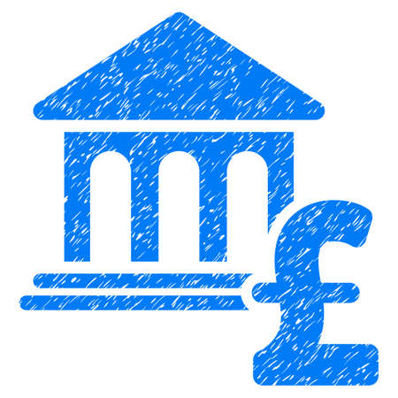 Museum Pound Payment grainy textured icon for overlay watermark stamps. Flat symbol with unclean texture. Dotted vector blue ink rubber seal stamp with grunge design on a white background.