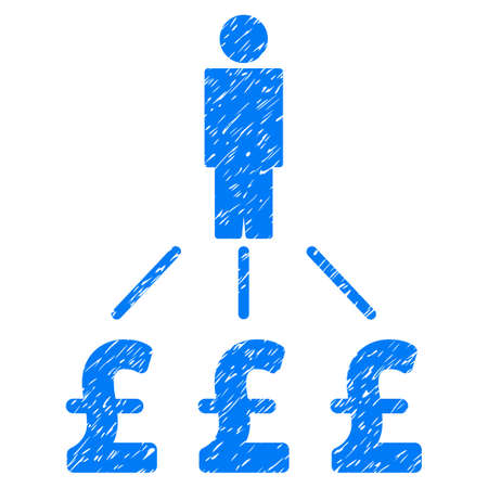 Person Pound Expenses grainy textured icon for overlay watermark stamps. Flat symbol with scratched texture. Dotted vector blue ink rubber seal stamp with grunge design on a white background.