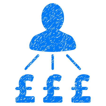 Person Pound Expenses grainy textured icon for overlay watermark stamps. Flat symbol with dirty texture. Dotted vector blue ink rubber seal stamp with grunge design on a white background. Illustration