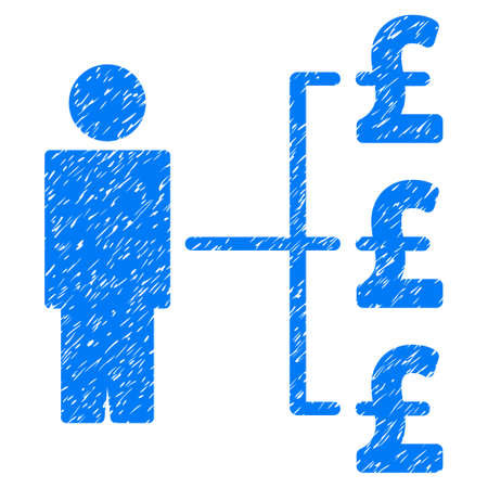 economist: Person Pound Payments grainy textured icon for overlay watermark stamps. Flat symbol with unclean texture. Dotted vector blue ink rubber seal stamp with grunge design on a white background.