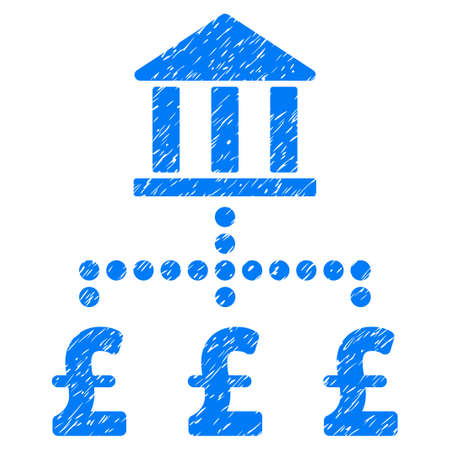 bank branch: Pound Bank Payments grainy textured icon for overlay watermark stamps. Flat symbol with scratched texture. Dotted vector blue ink rubber seal stamp with grunge design on a white background. Illustration