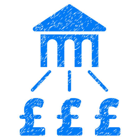 Pound Bank Structure grainy textured icon for overlay watermark stamps. Flat symbol with dust texture. Dotted vector blue ink rubber seal stamp with grunge design on a white background. Illustration