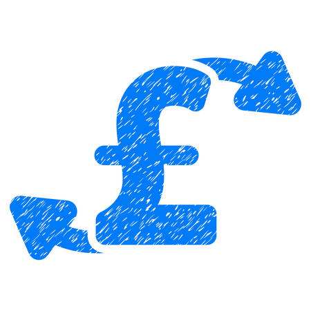 Pound Cash Outs grainy textured icon for overlay watermark stamps. Flat symbol with dirty texture. Dotted vector blue ink rubber seal stamp with grunge design on a white background. Illustration